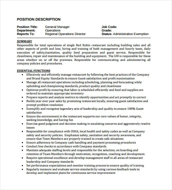 product manager job description cv