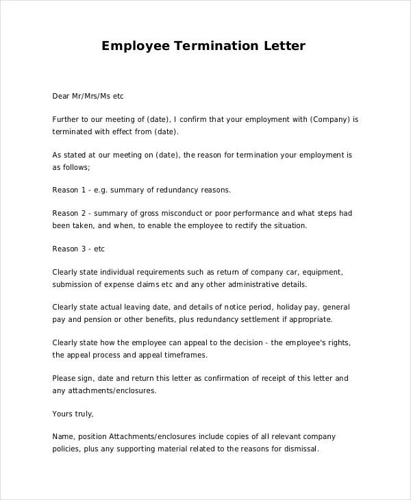 job dismissal letters - Minimfagency - Employee Separation Letter