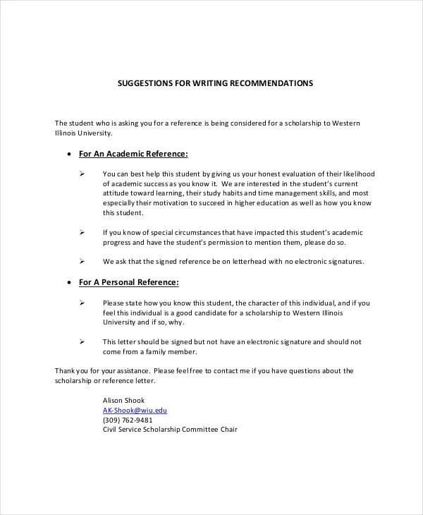 Sample Academic Recommendation Letter Personal Reference Letter - scholarship recommendation letter sample