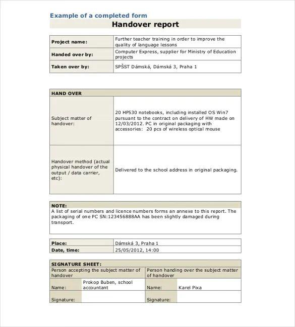 job handover form sample