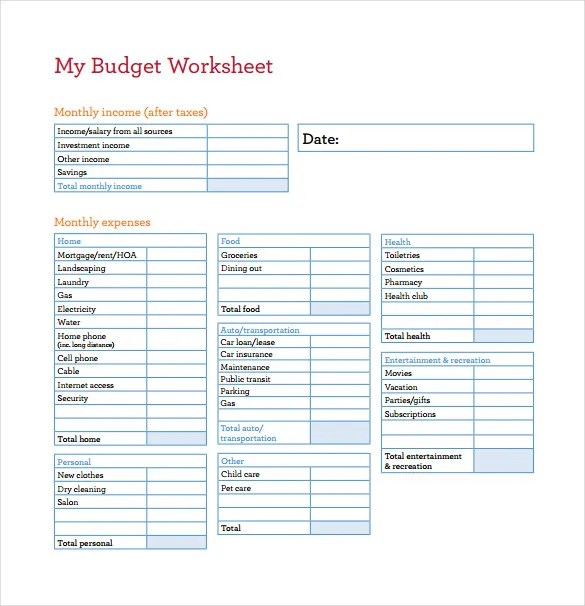 Home Budget Spreadsheet Free Household Budget Template Home Budget