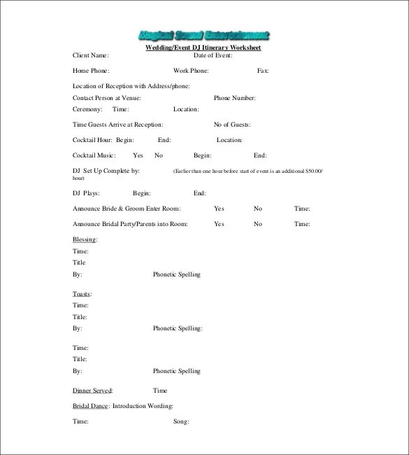 Wedding Itinerary Template - 44+ Free Word, PDF Documents Download - wedding song list for dj template
