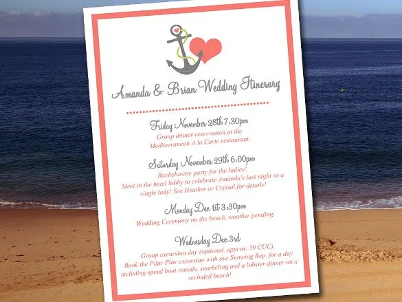 44+ Wedding Itinerary Templates - DOC, PDF, PSD Free  Premium