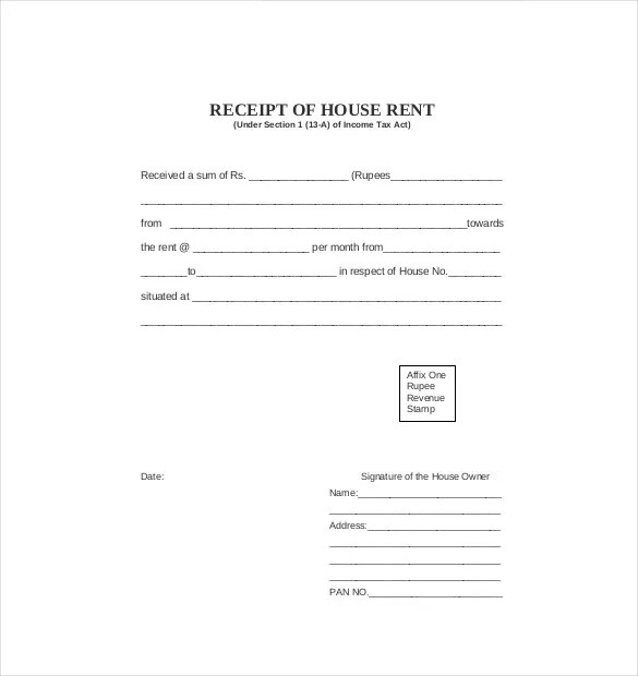 39+ Rental Receipt Templates - DOC, PDF, Excel Free  Premium - format of house rent receipt