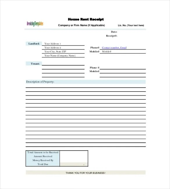 39+ Rental Receipt Templates - DOC, PDF, Excel Free  Premium - home rental receipt