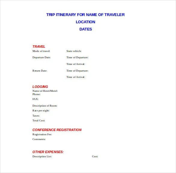 Vacation Planning Template Trip Itinerary Doc Format Template