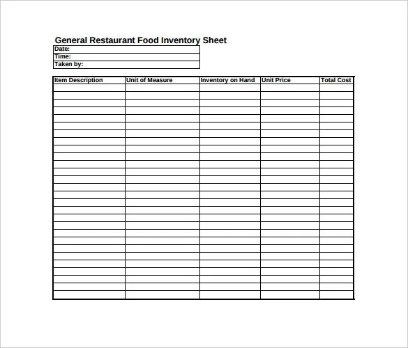 Blank Spreadsheet Template Restaurant Food Inventory Spreadsheet - blank preadsheet