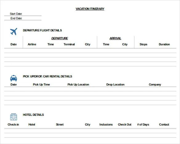33+ Trip Itinerary Templates - PDF, DOC, Excel Free  Premium - sample itinerary templates