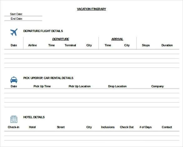 33+ Trip Itinerary Templates - PDF, DOC, Excel Free  Premium