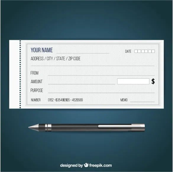 template of a cheque