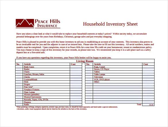 inventory sample sheet