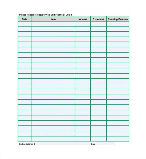 9+ Financial Spreadsheet Templates - DOC, PDF Free  Premium Templates - troop to task example