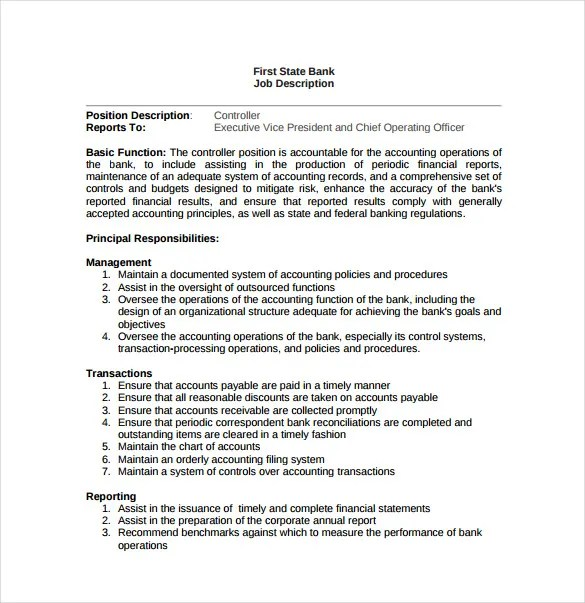 11+ Controller Job Description Templates - Free Sample, Example - Assistant Controller Job Description