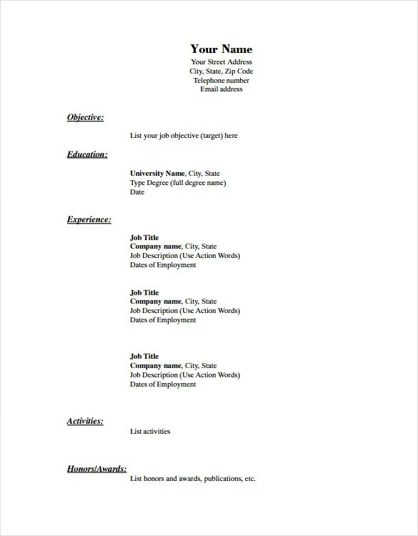Fill In The Blank Resume Template Blank Resume Templates Free