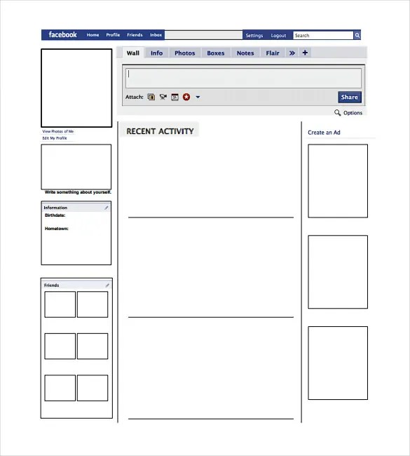 Blank Facebook Template \u2013 11+ Free Word, PPT  PSD Documents - profile template word