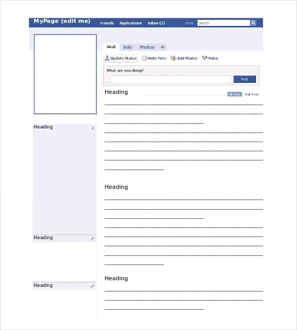 Blank Facebook Template \u2013 11+ Free Word, PPT  PSD Documents