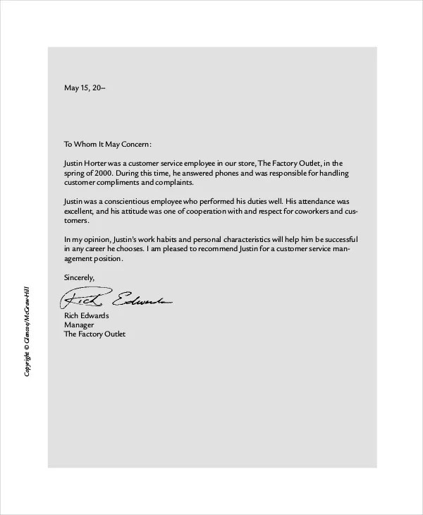 Business Reference Letter - 7+ Free Word, PDF Documents Download - product recommendation template