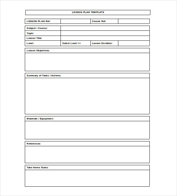 Blank Lesson Plan Template \u2013 15+ Free PDF, Excel, Word, Google Drive