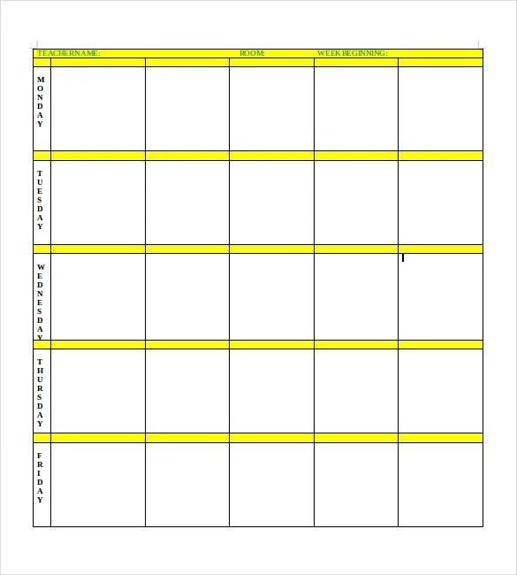 Blank Lesson Plan Template \u2013 15+ Free PDF, Excel, Word, Google Drive