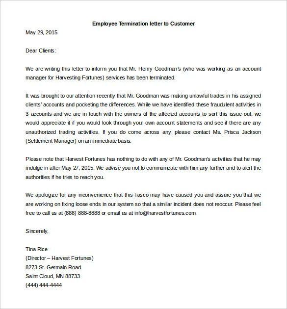 sample letter of firing an employee