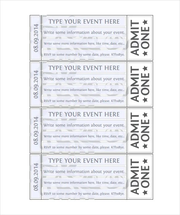 Blank Ticket Templates u2013 21+ Free PSD, Vector EPS, AI, Word Format - blank ticket template