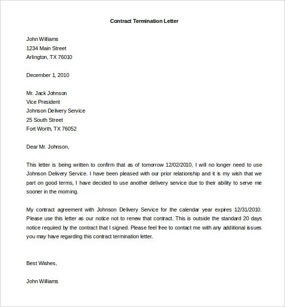 9+ Termination of Services Letter Templates - Free Sample, Example - agreement letter examples