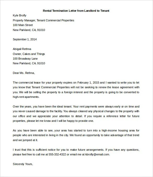 13+ Rental Termination Letter Templates - Free Sample, Example