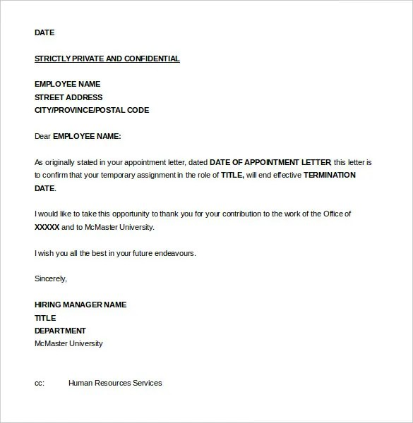 Sample Letter Of Termination Of Employment Contract Due To Poor ...