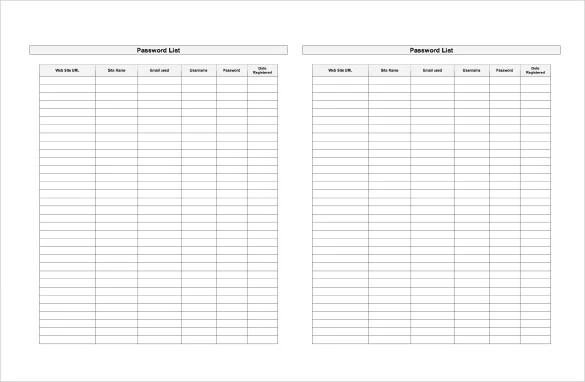 9+ Sample Password Spreadsheet Templates - PDF, DOC, Excel Free - password manager spreadsheet template