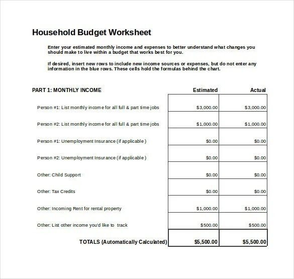 8+ Monthly Budget Spreadsheet Templates - Free Word, Excel, PDF