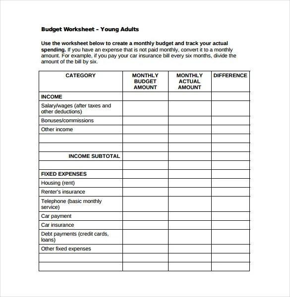 Monthly Budget Sheet Monthly Budget Spread Free Word Template - Sample Budget Sheet