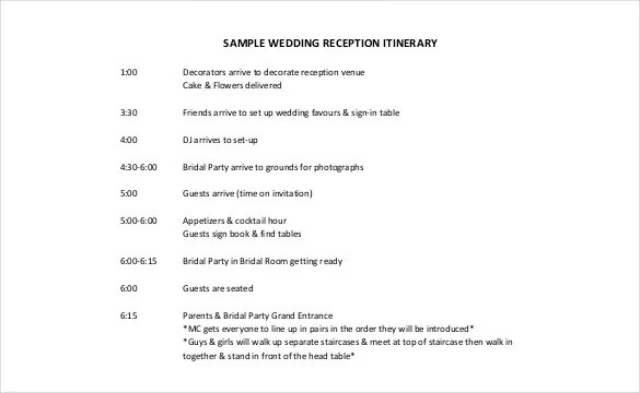 26+ Wedding Itinerary Templates \u2013 Free Sample, Example, Format