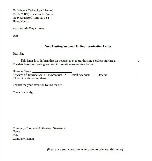 14+ Service Termination Letter Templates - PDF, DOC Free  Premium - sample letter to withdraw child from daycare