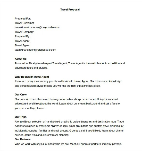 Tour Package Proposal Letter Sample Find Your Dream