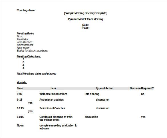 13+ Meeting Itinerary Templates - DOC, PDF Free  Premium Templates