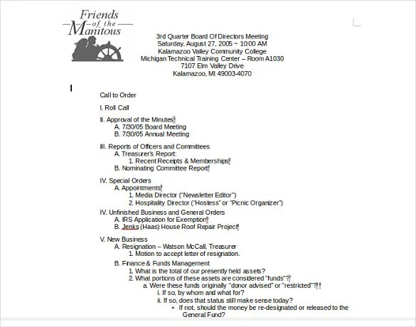 14+ Meeting Itinerary Templates \u2013 Sample, Example, Format Download