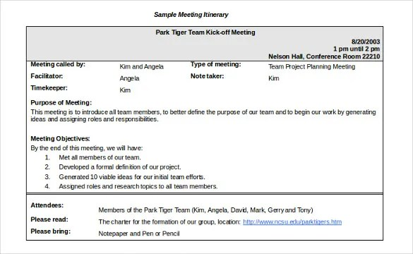 14+ Meeting Itinerary Templates u2013 Sample, Example, Format Download - sample meeting agenda 2