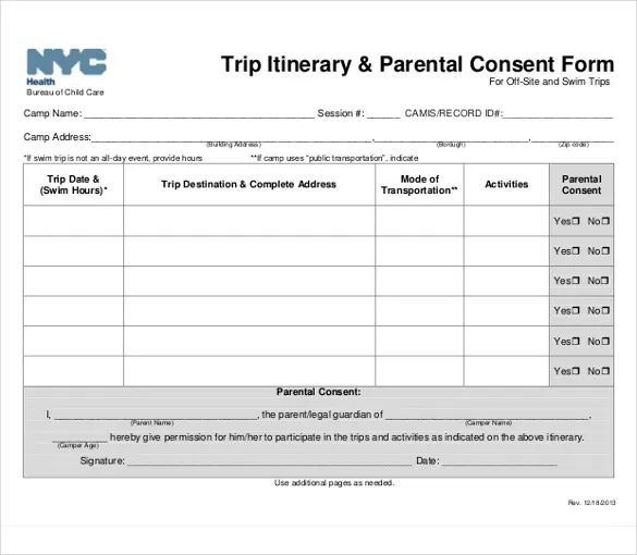 sample itinerary template for vacation