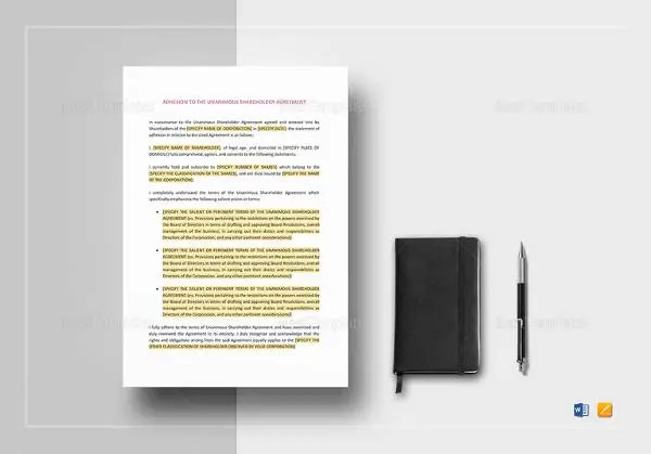 13+ Shareholder Agreement Templates \u2013 Free Sample, Example, Format