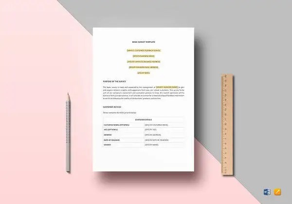 Survey Template \u2013 33+ Free Word, Excel, PDF Documents Download