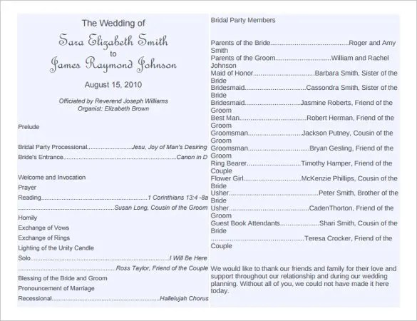 Wedding Program Template - 64+ Free Word, PDF, PSD Documents - wedding program template