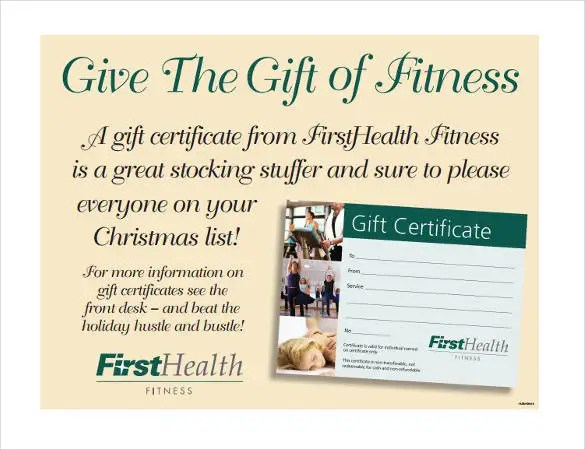 7+ Fitness Gift Certificate Templates \u2013 Free Sample, Example, Format - gift certificate samples