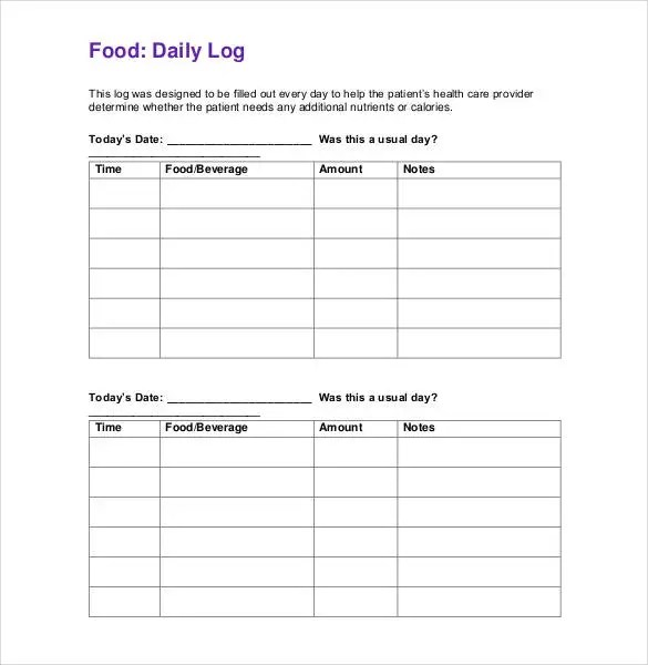 Food Log Template - 30+ Free Word, Excel, PDF Documents Free