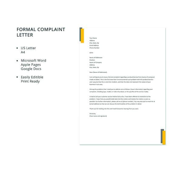 19+ Formal Complaint Letter Templates - PDF, DOC Free  Premium - complaints letter template