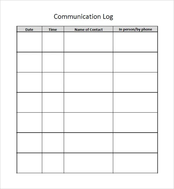 Communication Log Template \u2013 8+ Free Word, PDF Documents Download - contact log template