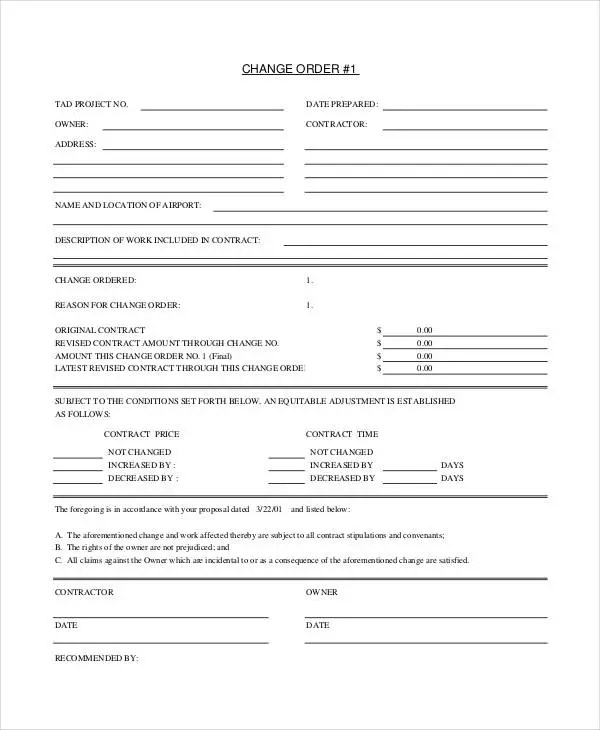 24+ Change Order Templates - PDF, DOC Free  Premium Templates - Printable Address Change Form