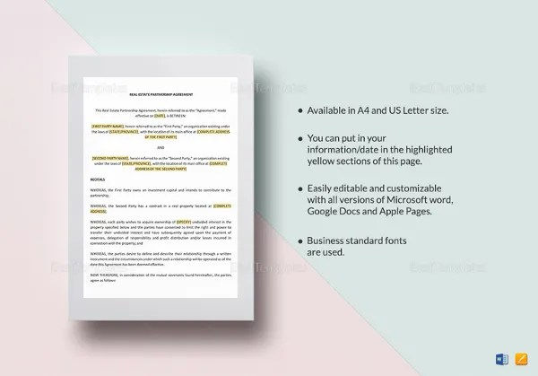 Partnership Agreement Template -11+ Free Word, PDF Document - real estate partnership agreement