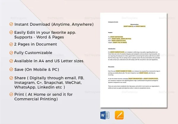 Interoffice Memo Templates - 28+ Free Sample, Example, Format Free - interoffice memo sample format