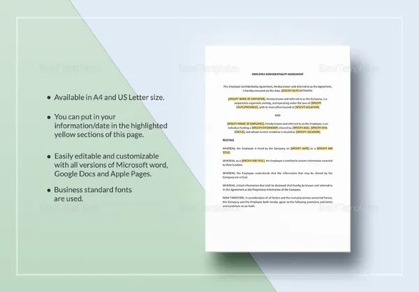 Employee Confidentiality Agreement Template Nz Best Resumes - sample employee confidentiality agreement