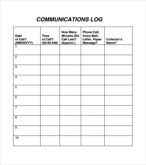 Communication Log Template \u2013 8+ Free Word, PDF Documents Download